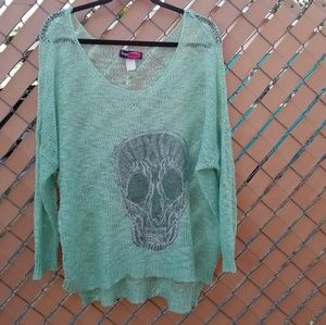 Say What? Mint Green Oversized Sweater w/ Skull